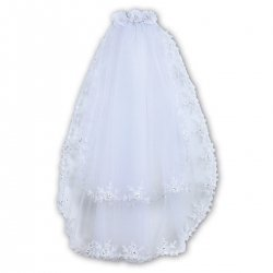 Flower Trim White First Holy Communion Veil From Sarah Louise