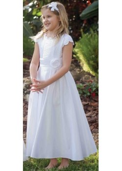 Sarah Louise First Holy Communion Dress With Pleated Front And Flower