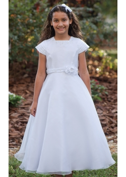 Sarah Louise Girls First Holy Communion Dress With Pleated Sleeves And Flower