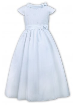 Sarah Louise First Holy Communion Dress With Bias Roll Collar And Bows