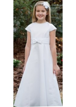 Sarah Louise First Holy Communion Dress With Bow And Pleated Waistband