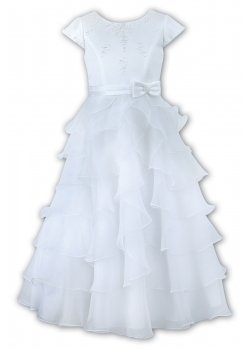 Sarah Louise Beaded White Holy Communion Ruffle Dress