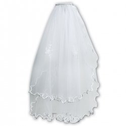 Sarah Louise Flower Embroidered White Communion Veil