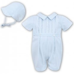 Sarah Louise Baby Boys Blue Front Pleated Romper Outfit