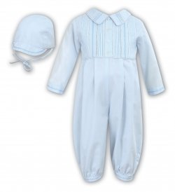 Sarah Louise Baby Boys Pleated Blue Romper Outfit With Cap