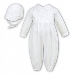 Sarah Louise Baby Boys Front Pleated Ivory Romper Outfit With Hat