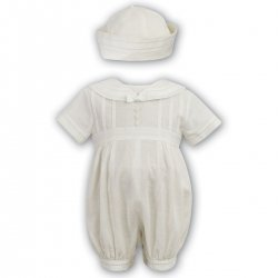 Baby Boys Ivory Christening Romper Sailor Style By Sarah Louise
