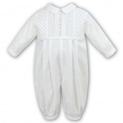 Sarah Louise Baby Boys Ivory Pleated  Romper Outfit