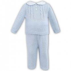 Sarah Louise Baby Boys Blue Knitted Two Pieces Outfit