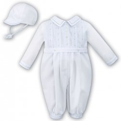 Sarah Louise Baby Boys Long Sleeved Pleated White Blue Romper Outfit