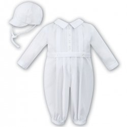 Sarah Louise Baby Boys White Romper White Embroideries And Hat Outfit