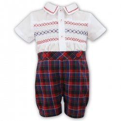Sarah Louise Baby Boys 2 Piece Smocked Red Tartan Outfit