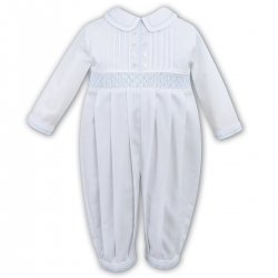 Elegant Baby Boys White Pleated Blue Smocked Romper By Sarah Louise