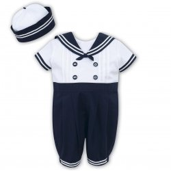 Sarah Louise Baby Boys White Navy Sailor Romper Smart Outfit