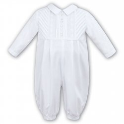 Sarah Louise Baby Boys White Romper Outfit Pleated Front