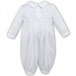 Sarah Louise Baby Boys Beautifully Pleated White Romper