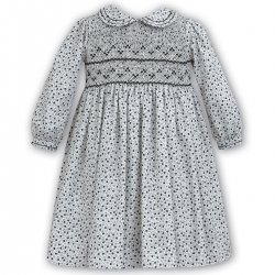 Toddler Girls Ivory Grey Smocked Dress Black Flowers By Sarah Louise