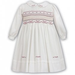 Sarah Louise Girls Ivory Dress Pink Burgundy Smocked