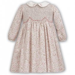 Sarah Louise Toddler Girls Ivory Pink Brown Floral Smocked Dress