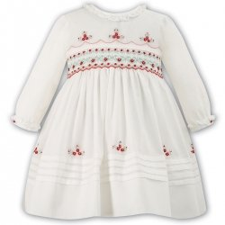 Sarah Louise Baby Girls Ivory Dress Red Smocked Embroidered
