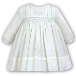 Sarah Louise Baby Girls Ivory Smocked Dress With Ivory And Blue Flowers