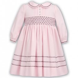 Sarah Louise Toddler Girls Pink Dress Burgundy Smocked