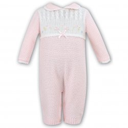 Stunning Baby Girls Pink Knitted All In One Romper By Sarah Louise