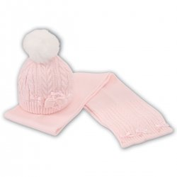 Sarah Louise Baby Girls Pink Pom Pom Hat And Scarf
