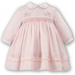 Beautiful Sarah Louise Baby Girls Pink Smocked Dress Pink And Purple Embroideries