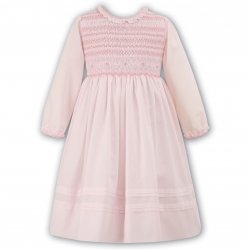 Beautifully Smocked Sarah Louise Baby Pink Girls Dress