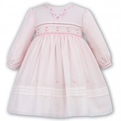 Sarah Louise White Baby Girls Embroidered Pink Smocked Dress