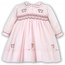 Sarah Louise Pink Brown Embroidered Smocked Dress