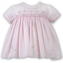 Sarah Louise Baby Girls Pink Smocked And Embroidered Dress