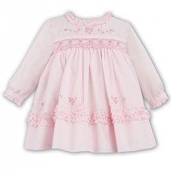 Baby Girls Sarah Louise Smocked Pink Dress With Beads And Flowers