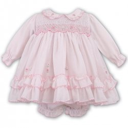 Baby Girls Sarah Louise Smocked Pink Dress With Panty