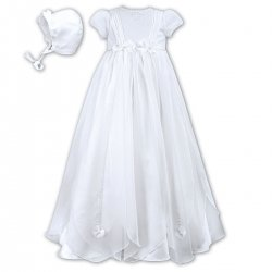 Baby Girls Flowers And Beads White Christening Robe