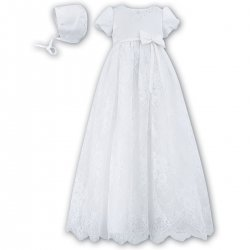 Baby Girls White Christening Robe With Floral Net
