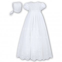 Sarah Louise Baby Girls White Christening Gown With Bonnet