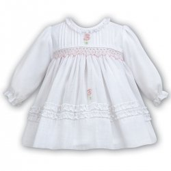 Sarah Louise Baby Girls White Dress Pink SmocKed Frilly Dress