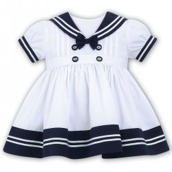 Sarah Louise Baby Girls White Navy Sailor Dress