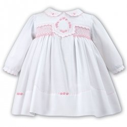 Beautiful Baby Girls White Dress Pink Smocked Dress By Sarah Louise