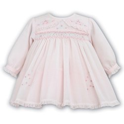 Sarah Louise Baby Girls Pink Embroidered And Smocked Dress