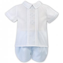 Sarah Louise Baby Boys White Top Blue Shorts 2 Piece Set