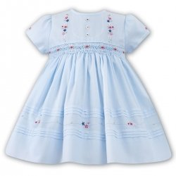 Sarah Louise Girls Smocked Blue Dress Flower Embroideries