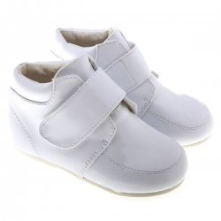 SALE Baby And Toddler Boys White Boots in Patent