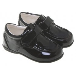 SALE Baby and toddler boys black patent shoes velcro fastening