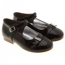Sales Diamantes Special occasions kids and junior girls black patent shoes