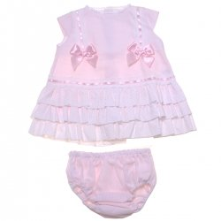 Girls Pink Dress Pink Bow White Lace Dress And Panty Set