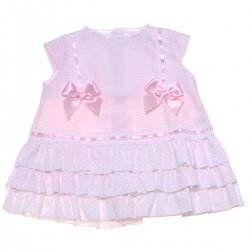 Sale Spanish Girls Pink Bow White Lace Pink Dress