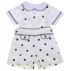 Baby Boys White Top Ivory Navy Polka Dots Outfit